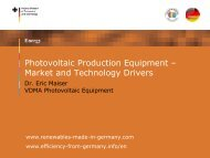 Photovoltaic Production Equipment - Renewables Made in Germany