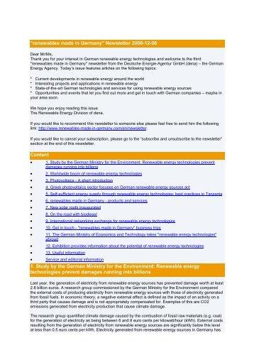 Newsletter December 2006 - Renewables Made in Germany