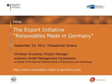 The Renewable Energy Export Initiative