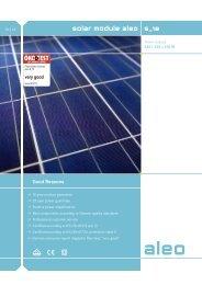 Aleo Solar 230watt Module Spec Sheet - Ultimate Solar Solutions