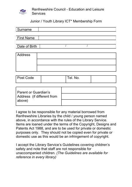 word form junior Word Pro - junior ICT membership form - Renfrewshire Council