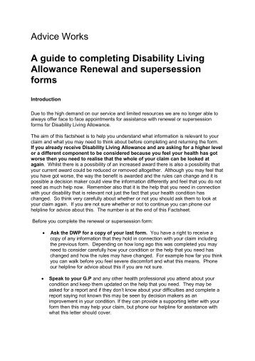 Disability Living Allowance Form Guide