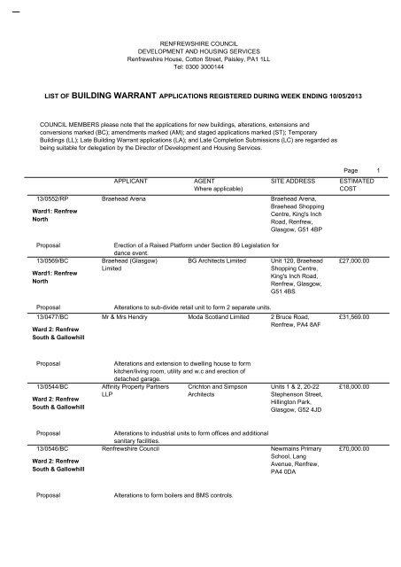 list of building warrant applications registered during week ending