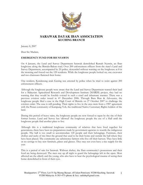 Sarawak Dayak Iban Association Rengah Sarawak