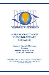Abstract Book - Undergraduate Research - Duke University