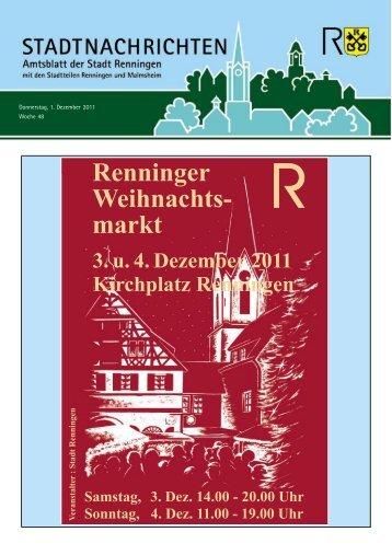 Donnerstag, 1. Dezember 2011 Woche 48 - Stadt Renningen