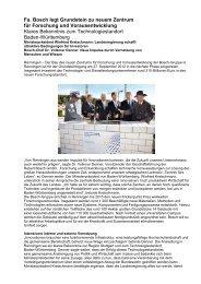 Fa. Bosch legt Grundstein zu neuem Zentrum für Forschung und ...
