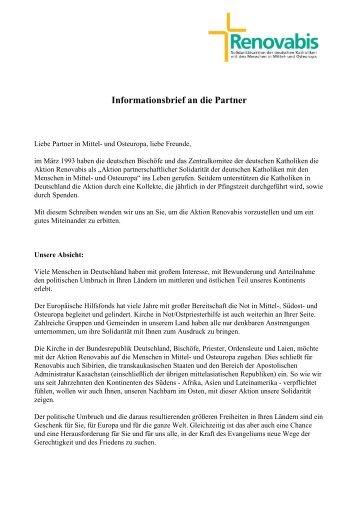 Infobrief an unsere Partner (deutsch) - Renovabis