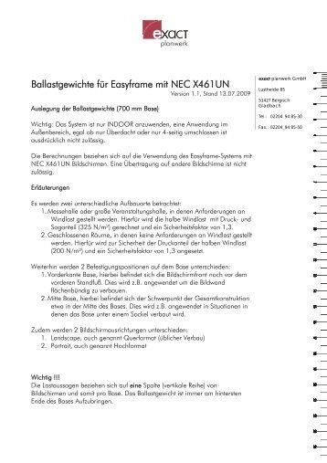 Ballastgewichte für Easyframe mit NEC X461UN - bei Rent Event Tec