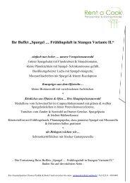"""Ihr Buffet """"Spargel … Frühlingsluft in Stangen ... - Rent a Cook"""