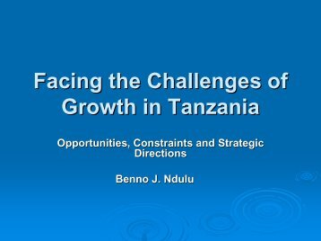 Facing the Challenges of Growth in Tanzania - Repoa