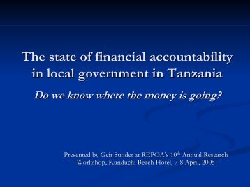 The state of financial accountability in local government in ... - Repoa