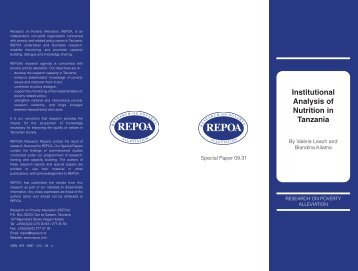Institutional Analysis of Nutrition in Tanzania - Repoa