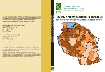 Poverty and malnutrition in Tanzania: - Repoa