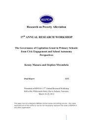 Governance of Capitation Grant in Primary Schools - Repoa