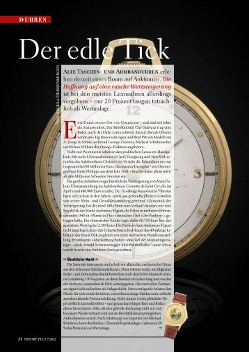 Seite 24-27: Sammeln als Investment - Uhren - Report