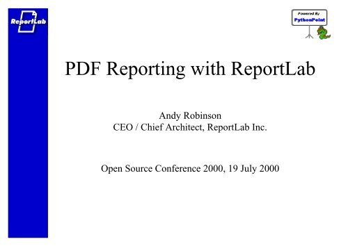 PDF Reporting with ReportLab