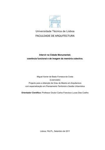 Universidade Técnica de Lisboa FACULDADE DE ARQUITECTURA