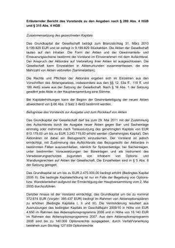 Erläuternder Bericht des Vorstands zu den Angaben ... - REpower