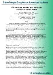 Une ontologie formelle pour une vision interdépendante du ... - Afscet