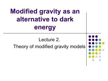 Theory of modified gravity - RESCEU