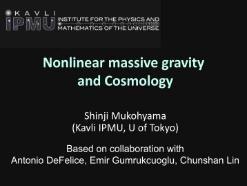 Alternative Gravity Theories II Nonlinear Massive Gravity - RESCEU