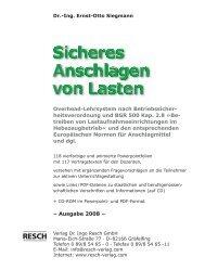 Sicheres Anschlagen von Lasten - Resch-Verlag