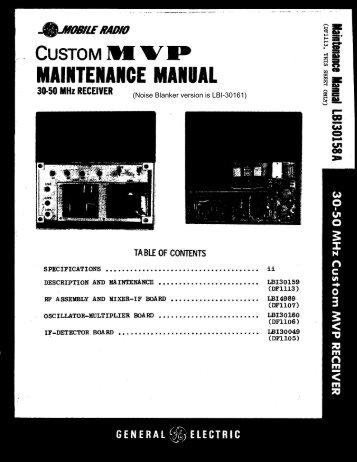 LBI-30158A Cover Sheet, 30-50 MHz CMVP Receiver (w/o NB)
