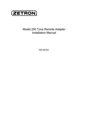 Model 250 Tone Remote Adapter Installation Manual