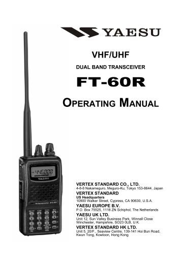 Yaesu FT-60 Cheat Sheet Store a Frequency in a Memory