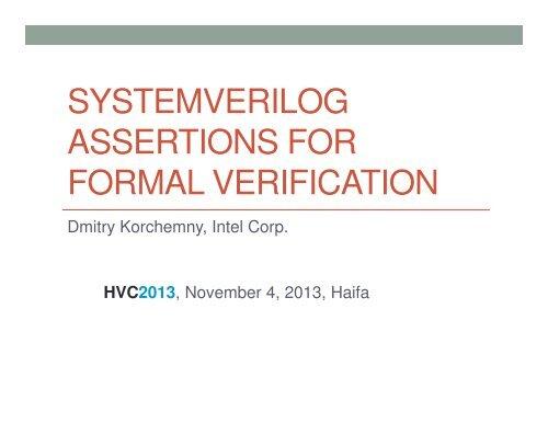 systemverilog assertions for formal verification - IBM Research