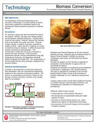 Biomass Conversion - Research at The University of Mississippi