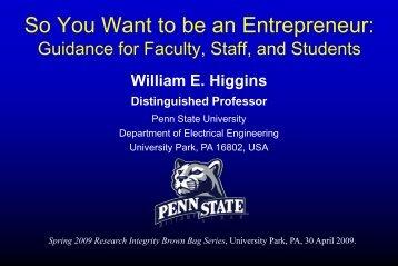 Brown Bag April 30, 2009 - Penn State University