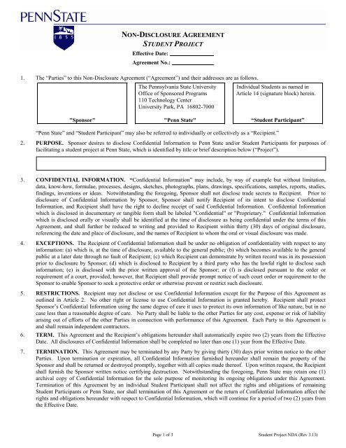 Non Disclosure Agreement Student Project