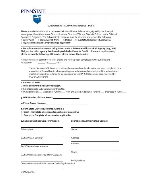 SUBCONTRACT/SUBAWARD REQUEST FORM Please provide the