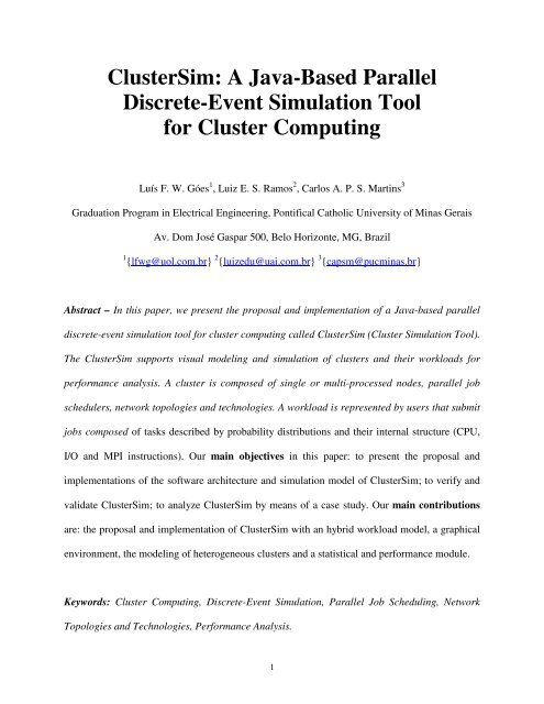 ClusterSim: A Java-Based Parallel Discrete-Event Simulation
