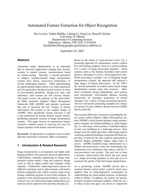 Automated Feature Extraction for Object Recognition