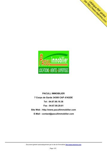 catalogue immobilier PACULL IMMOBILIER CAP d'AGDE - Repimmo