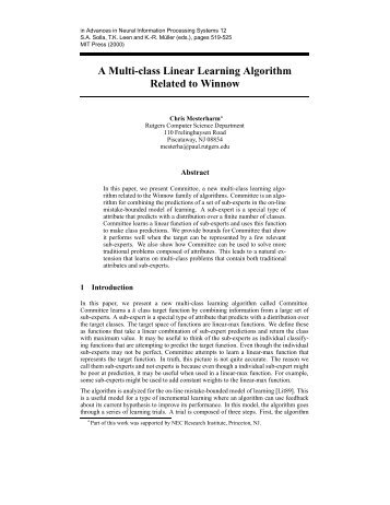 A Multi-class Linear Learning Algorithm Related to Winnow