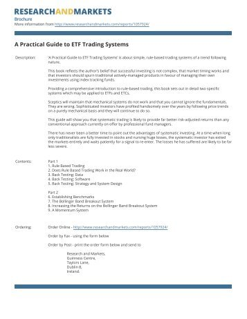 A Practical Guide to ETF Trading Systems - Research and Markets