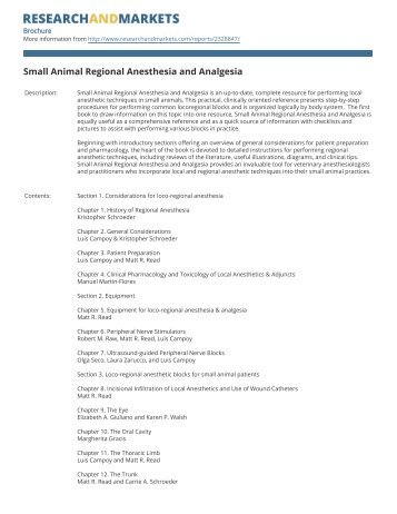 Small Animal Regional Anesthesia and Analgesia - Research and ...