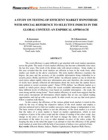testing efficient market hypothesis In defense of fundamental analysis: a critique of the efficient market hypothesis frank shostak t is widely held that financial asset markets always fully reflect.