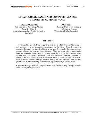 strategic alliance and competitiveness: theoretical framework