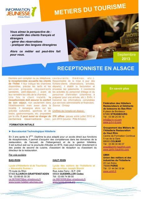 METIERS DU TOURISME - Réseau Information Jeunesse d'Alsace