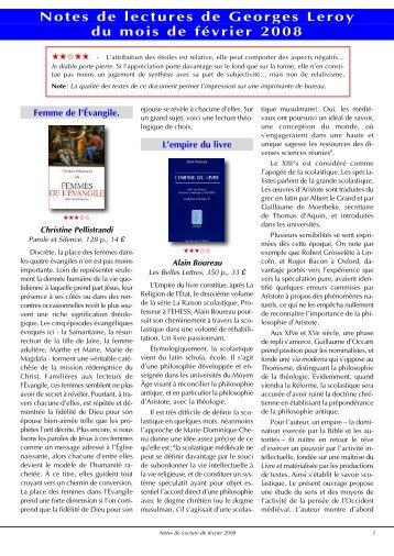 Notes de Lecture de février 2008 - reseau-regain.net