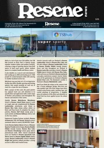 Resene newsletter issue 1 2011