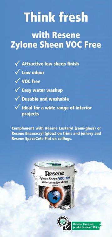 Resene Zylone Sheen VOC Free interior paint
