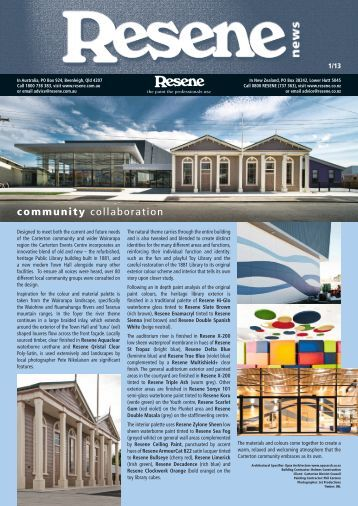 Resene Newsletter issue 1 2013