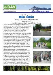 Alpenüberquerung www.dav-kaufering Allgäu-Südtirol