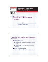 Seismic and Geotechnical Hazards - MCEER